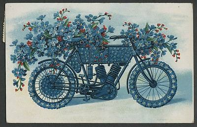 Mailed 1910 Embossed Floral Motorcycle Birthday/Greeting Postcard