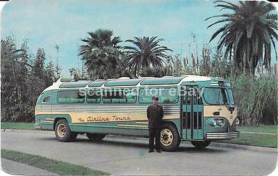 The Airline Tours Advertising Postcard Flxible Bus New Orleans
