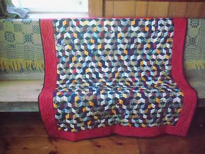 """Antique 1880-1910 Collector 1"""" Tumbling Block Satin Quilt Red Sateen Fabric Back"""