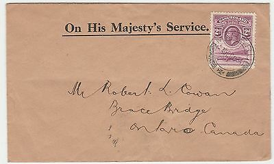 Basutoland Maseru Ohms Official 2D Single Franked 1934 Cover To Canada
