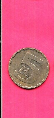 Poland Polish Y81.1 1984 Vf-Very Fine-Nice Old 5 Zlotych Large Coin