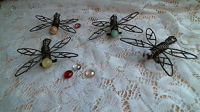 DRAGONFLY metal & marble plant garden decor pot sitters