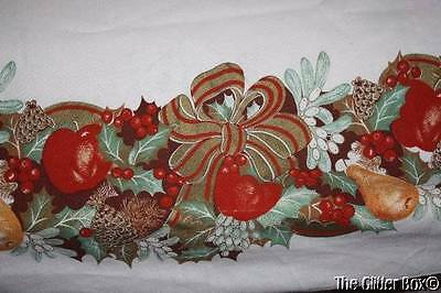 Vintage Christmas Tablecloth Thanksgiving Fruits Vegetables Pine Cones Berries