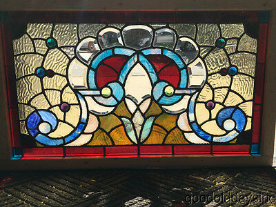 "Antique 1890's Victorian Stained Leaded Glass Transom Window 32"" by 19"""