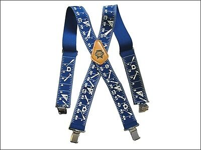 """FAITHFULL 2"""" (50mm) WIDE BLUE WORK BRACES FOR TROUSERS - With heavy Duty Clips"""