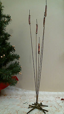brass interior cat tails & nails free standing sculpture