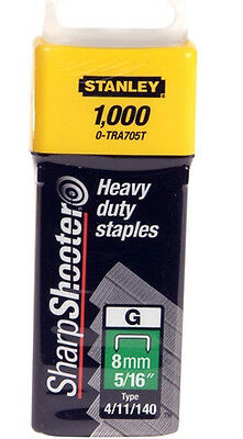 "8mm (5/16"") STANLEY HEAVY DUTY STAPLES 0-TRA705T (TYPE 4/11/140) - Pack of 1000."