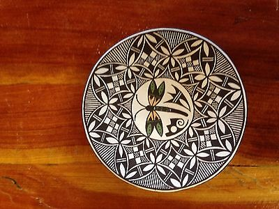 "ACOMA PUEBLO POTTERY PLATE  by MARILYN "" HENDERSON"" RAY  - DRAGONFLY"