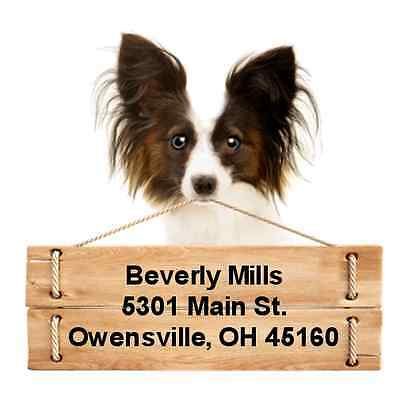 Papillon return address labels die cut to shape of dog and sign