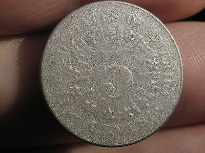1866 Shield Nickel 5 Cent Piece- with Rays, Scarce