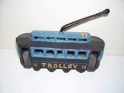 Metal Old time Trolley Black and Blue Toy Good Condition