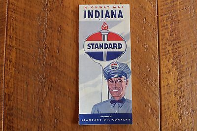 1950's  Standard Oil Co. Gas Service Station Road Map-Indiana 1956