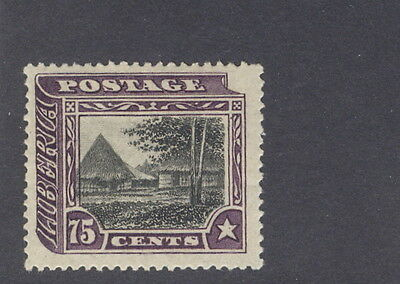 "Liberia 1909, 75c Village official, ""OS"" is MISSING, #O68"