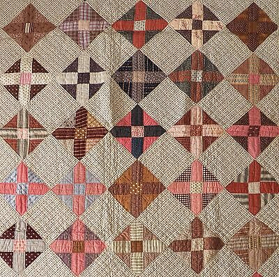 "Antique 1890s Cotton Fabric Quilt Hand Sewn Hand Quilted Cross Pattern 85"" x 75"""