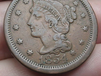 1854 Braided Hair Large Cent Penny, VF/XF Details