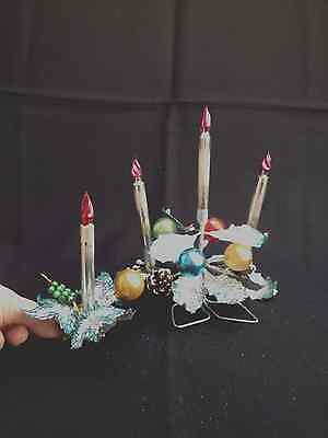 VTG Mercury Christmas Centerpiece & Matching Ornament German Clips Candle LOT