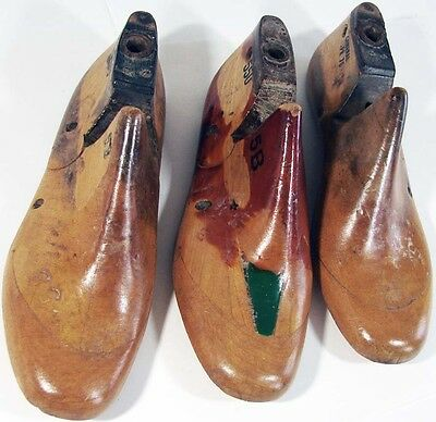 3 Vintage COBBLER WOOD SHOES, Form/Mold-Used to MAKE SHOES, Size 5B By General