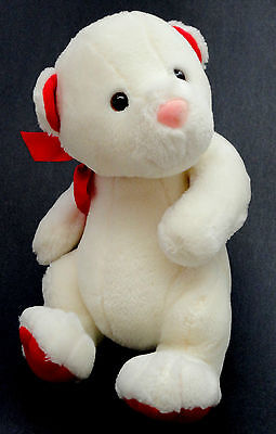 Hallmark Cards Teddy Bear 9in White Plush Red Paw Pads c1980s Christmas Issue