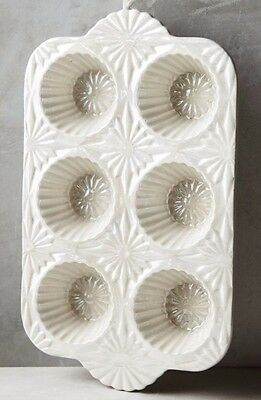 NWT Anthropologie RAISED BLOOM Muffin Cupcake Dish Flowers Textured Stoneware