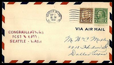 Congratulations Post And Gatty Seattle Washington Sep 3 1931 Cachet On Cover