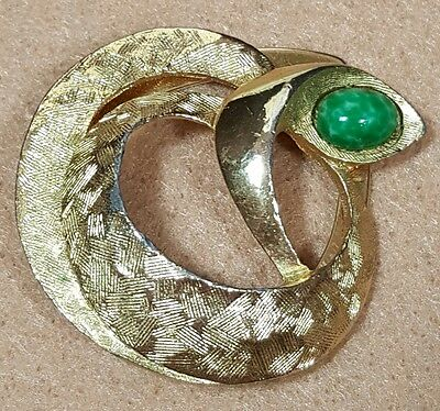 Vtg Jewelry Scarf Brooch Gold Tone Snake Green Glass Rhinestone Unique Style#...