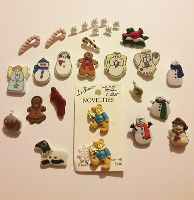 Great Lot of Christmas Novelty  Buttons!!  ceramic/plastic