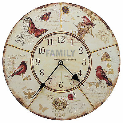 "TKF 13"" Wall Clock with Family Theme Birds and Butterflies Rustic Prints"