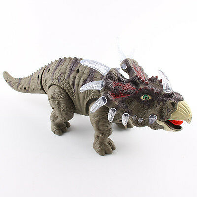 Walking Dinosaur Triceratops Toy Figure with Lights&Sounds, Real Movement Green
