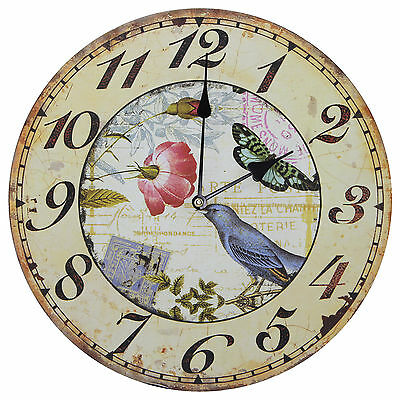 "TKF 13"" Wall Clock with Birds Butterflies and Flower Rustic Prints"