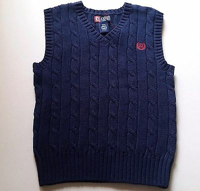 Boys CHAPS sweater vest 18-20 NEW navy blue cable knit uniform red logo Easter