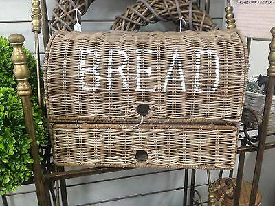 French BREAD Bin storage container rattan cane wicker kitchen dining country