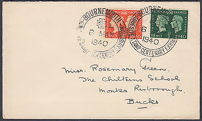 1940 Bournemouth Philatelic Congress SHS / Stamp Centenary 2d+1/2d FDC