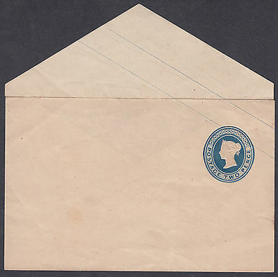 QV Mint 2d blue Embossed 'silk' thread Embossed Stationery Envelope