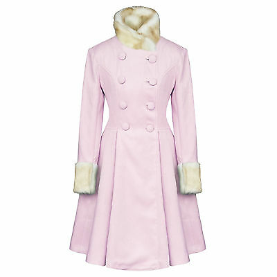 Hell Bunny Trixie Light Pink Vintage Lolita Fur Collar Winter Coat UK