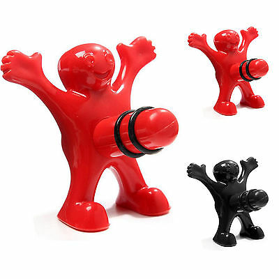 Creative Happy Man Sir Black Red Wine Bottle Stopper Plug Bar Kitchen Tool Gifts