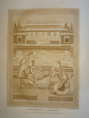 William DANIELL ENGRAVING STAGE WOMAN TOILET PAGODA MUSIC INDIA HINDOUSTAN 1820