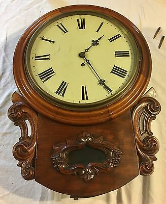 Good Antique Single Fusee Mahogany Dial Clock T Hambleton Birkenhead
