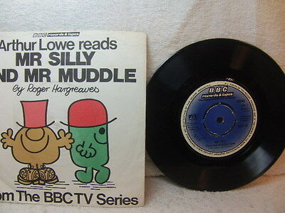 """Arthur Lowe - Mr Silly and Mr Muddle from BBC TV Mr Men 1977 7"""" RESL 41  PS"""