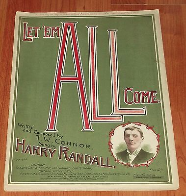 Victorian Pictorial Sheet Music..let Em All Come..harry Randell.