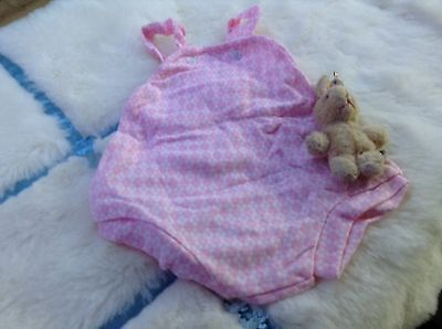 VINTAGE  CLOTHING BABY INFANT CHILDRENS ROMPER 3/6 MONTHS 70s PINK/WHITE UNUSED
