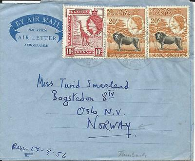 Kenya 1956, 10+2x20 C. auf Air Letter Brief v. Tambach Eldoret n. Norwegen