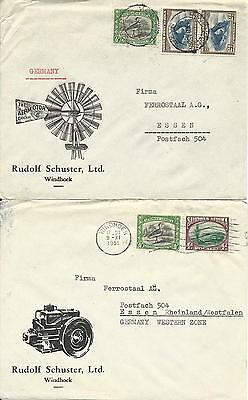 Südwest Afrika, South West Africa, 2 advertising covers to Germany