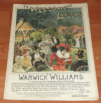 """Victorian Pictorial Sheet Music..""""welcome"""" Lancers."""