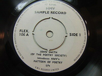 John Smith introduces HMV's Patterns of Poetry LPs 1965 Sample Record FLEX 106