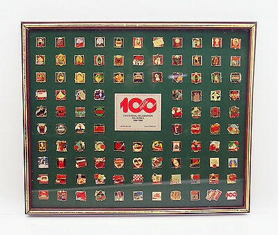 Coca Cola Centennial Celebration Pin Series 101 Pins 1886 - 1986 in Box framed