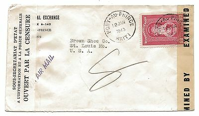 Porte Au Prince HAITI 1943 WW2 Double Censored Air Mail Cover to St Louis USA