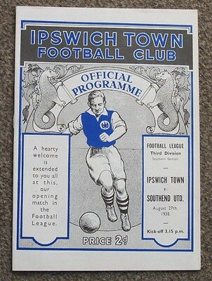 1938/39 Ipswich Town v Southend Utd. Reproduction Programme.