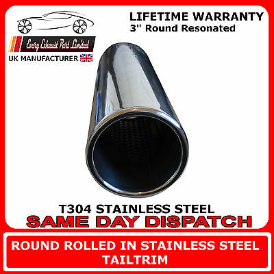 """Stainless Steel Exhaust Resonated Tip 3"""" Round Tailpipe T304 Easy Weld On Fit"""