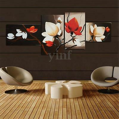 4Pcs Abstract Flower Canvas Print Wall Art Painting Picture Home Decor Unframed