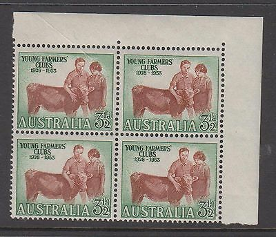 Australia 1953 Young Farmers club. Mint unhinged block 4 stamps